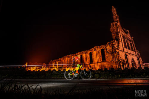 YTG Dark Skies Event, Rider infront of Byland Abbey